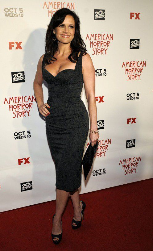 Carla Gugino has great cleavage in a sexy curve hugging little black dress on the red carpet