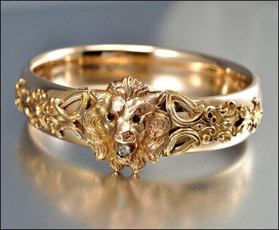 Victorian Bracelet 12K Gold Filled Lion Bangle Bracelet Antique Jewelry Garnet Diamond Paste