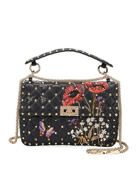 6bc99a94a0 Spike It Beaded Flowers Quilted Leather Medium Shoulder Bag by Valentino  Garavani at Neiman Marcus