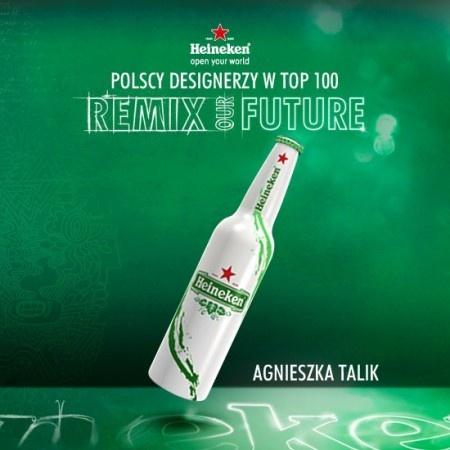 POLACY W PÓŁFINAŁOWEJ SETCE! na FUTU.PL Aż 10 Polaków znalazło się w półfinałowej setce konkursu Remix our Future na projekt butelki piwa holenderskiej marki Heineken. W ten sposób Polska uplasowała się na 3. miejscu wśród wszystkich krajów biorących udział w konkursie pod względem liczby zakwalifikowanych projektów. Rozstrzygniecie konkursu Your Future Bottle nastąpi już w kwietniu podczas Design Week w Mediolanie.
