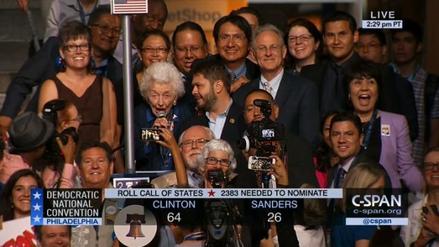 The DNC is currently doing a roll call of delegates for procedural confirmation that, yes, Hillary Clinton is the Democratic nominee for president. One of the voices chiming in: 102-year-old Jerry Emmett, born before American women had the legal right to vote in a presidential election.