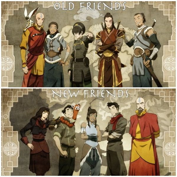 The airbender, the strong waterbender, the awkward firebender, the comic relief brother, and the rich girl.
