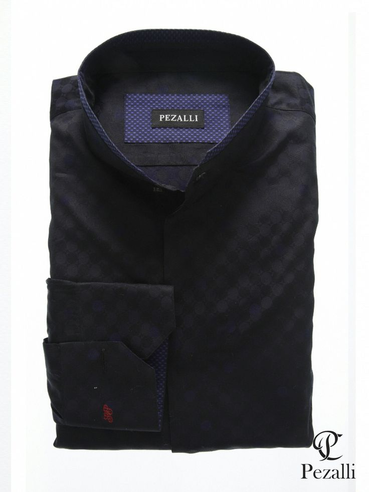 100% Egyptian Cotton shirt in black textured with nehru collar with contrast trim on collar and inner cuff.