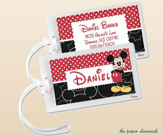 Mickey Mouse Custom Bag Tag or Luggage Tag by The Paper Shamrock