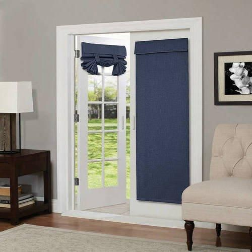 68 Inch Indigo Solid Color Blackout French Door Curtain Single