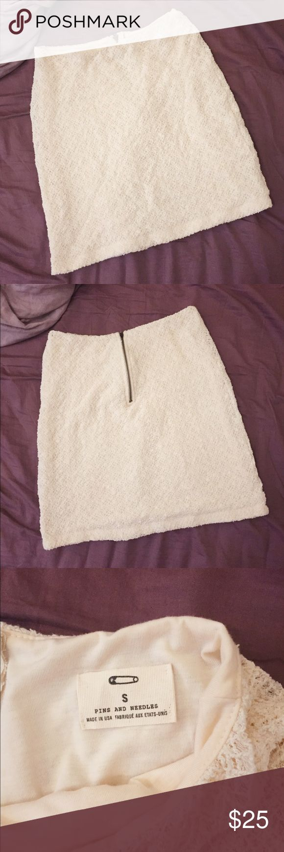 Cream Crocheted Pins & Needles Skirt Lined, super soft off-white skirt from Pins & Needles purchased at Urban Outfitters. Can be for a night out or formal occasion, dress up or dress down! Urban Outfitters Skirts Mini