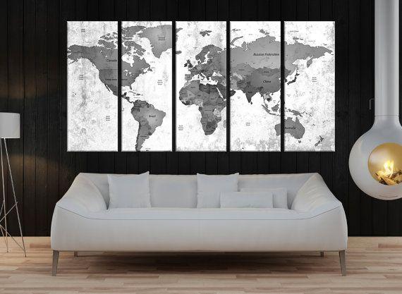 Push Pin world map wall art print, black and white wall art canvas, large travel map world push pin, world map canvas art print, No:8S63