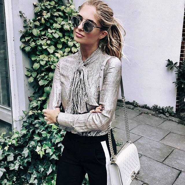 metallic blouse with neck tie