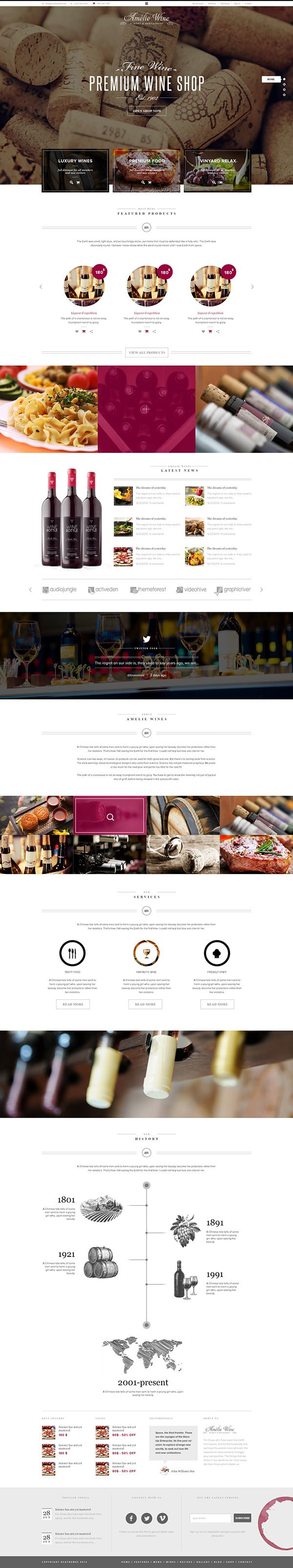 Wine - Responsive Restaurant Winery WordPress Shop by Themes Awards, via Behance