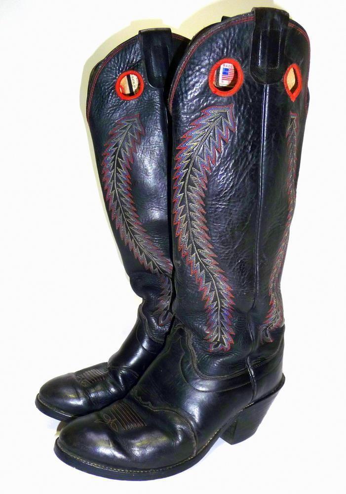 "OLATHE Rodeo Cowboy 20"" Tall Buckaroo Boots Black Leather Packer Heel Sz 11.5 D #Olathe #CowboyWestern"