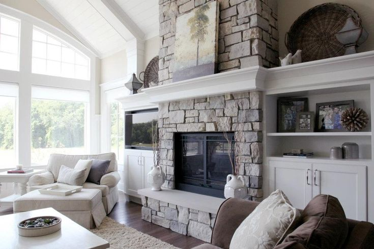 lovely high ceiling living room fireplace | Cool fireplace, built ins, and high ceiling in 2019 | Tall ...