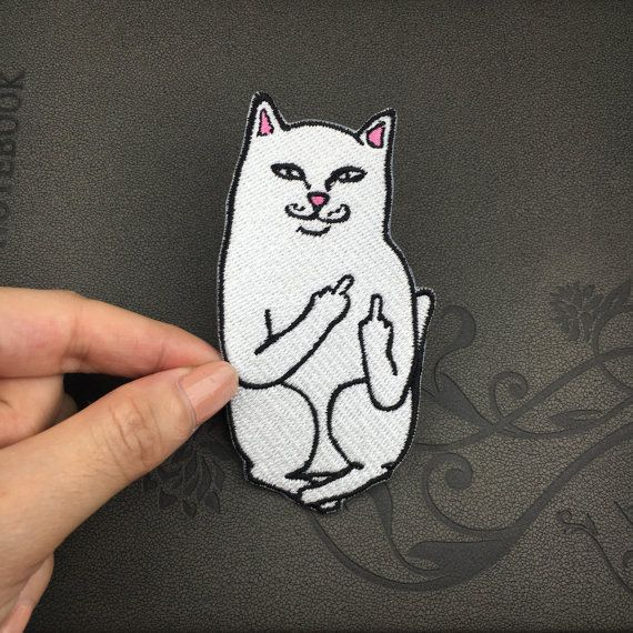 funny cat middle finger cat white cat patch by Perfecthandwork