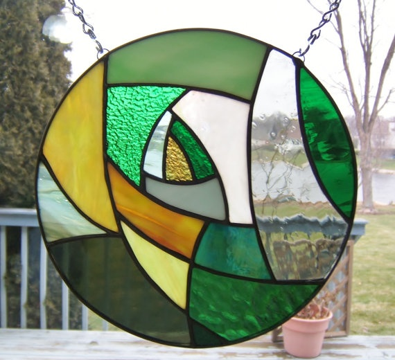 Stained glass panel abstract round circle green stained by sghovel, $49.00