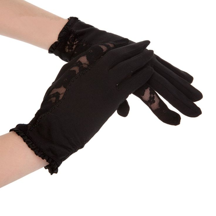 New Kenmont Summer Uv Protection 100% Cotton Lace Dress Sun Gloves One Size (Black)