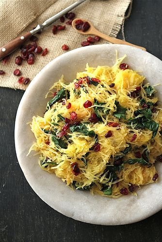 Spaghetti Squash with Swiss Chard, Dried Cranberries & Dijon Vinaigrette