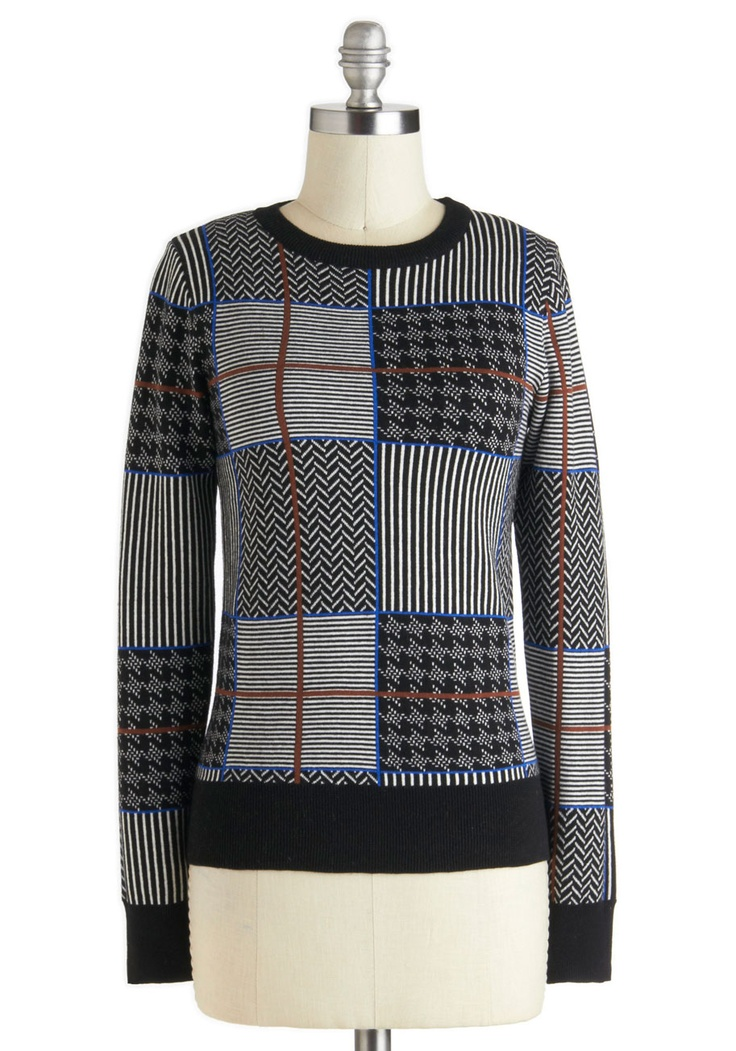 Pattern My Way Sweater - Cotton, Mid-length, Blue, White, Stripes, Herringbone, Casual, Long Sleeve, Multi, Brown, Black, Houndstooth, Winter