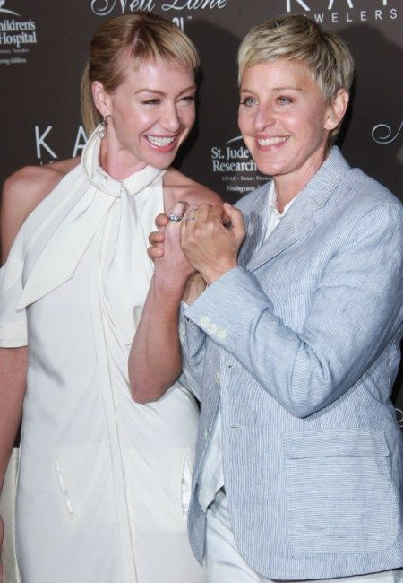 Ellen DeGeneres and Portia De Rossi made an adorable couple at the Los Angeles Neil Lane event. They playfully posed for pictures while showing off their wedding bands that were, of course, made by Neil Lane. Portia De Rossi and Ellen DeGeneres were married during the summer of 2008 and look like they are still newlyweds!