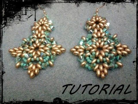 "▶ Tutorial Perline: Orecchini ""Tiffany"" realizzati con superduo o twin beads - YouTube"