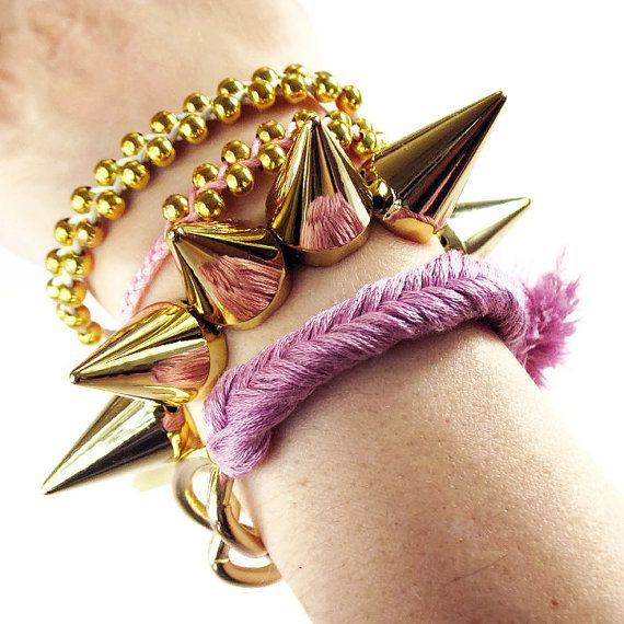 Spikes bracelet GOLD and SILVER studs spikes by deathdiscolovesyou, $10.00