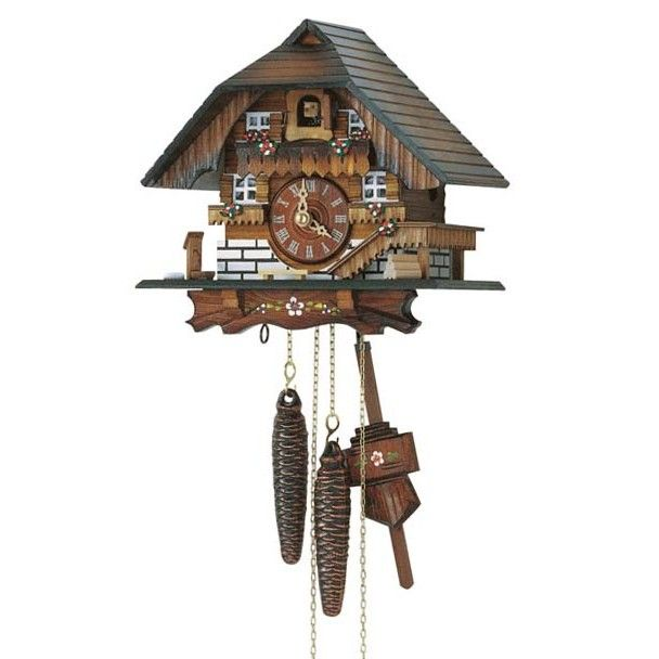 Made in the Black Forest region of Germany this cuckoo clock features simple floral designs Intricate details hand-carved and hand-painted and made from real Black Forest linden wood. 8 inch, 1-day movement.$345.60