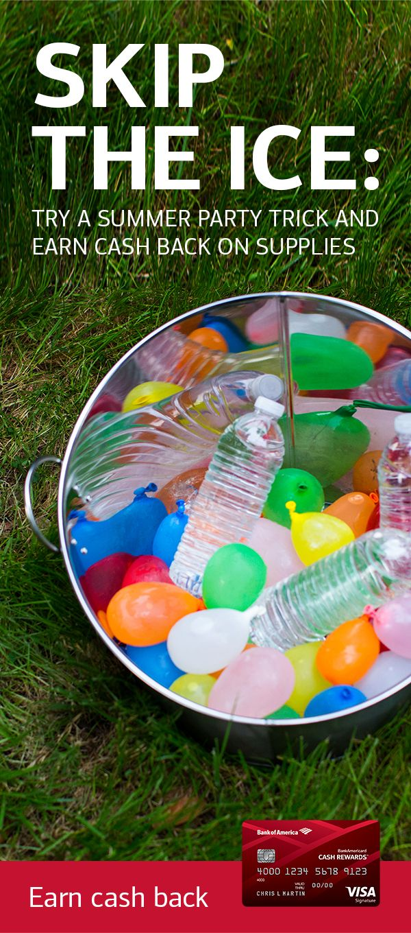 Impress party guests—and chill their drinks—with nothing but a bag of water balloons. Find out how with this easy DIY summer party idea from design and home experts Erin and Ben Napier. And remember that you can earn 2% cash back at grocery stores and now wholesale clubs with the BankAmericard Cash Rewards™ credit card. Learn more.