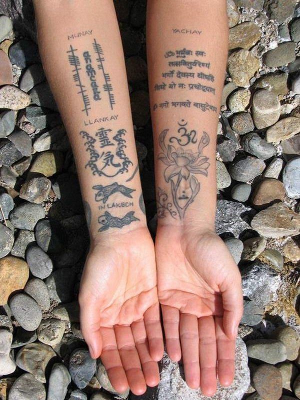 The Sanskrit tattoo, in the upper right, is a sacred mantra. It's hard to read, but it looks like there are two errors. Beware, there are a lot of bad Sanskrit tattoo designs out there on the internet! Please consider hiring me to create your original Sanskrit tattoo design. I also double-check designs you got elsewhere. Bio at ellenstansell.com Email me at ellen@ellenstansell.com