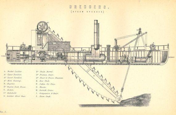 Antique Picture of Dredger, Dredging, Black and White Print of Steam Dredger ship £6