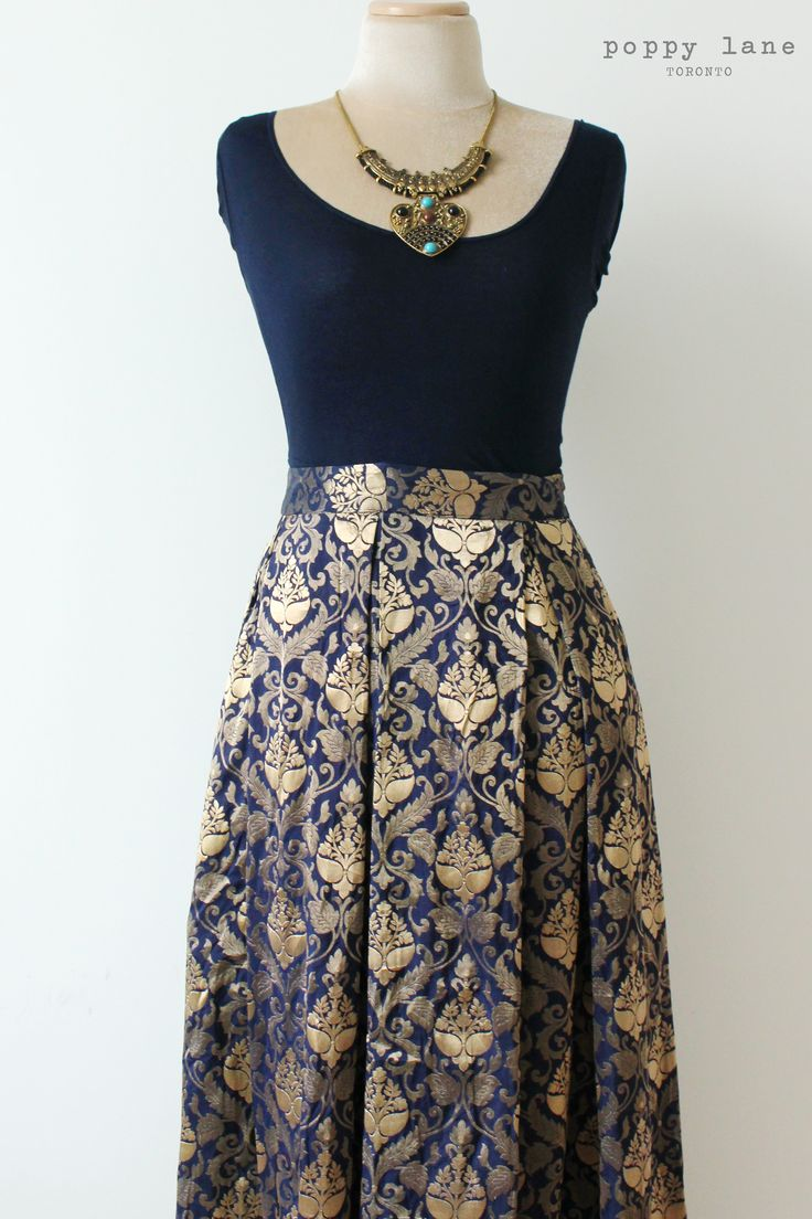 Imperial Blue Brocade Silk Lengha Skirt. Shop now at poppylane.ca