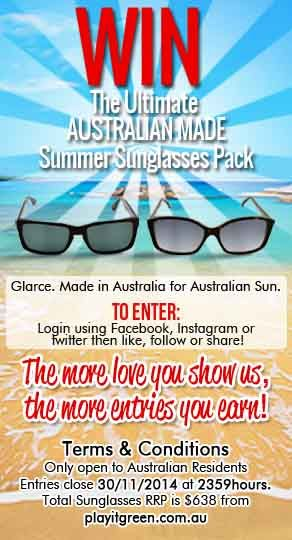 Go in the draw to win a $638 AUSTRALIAN MADE summer sunglasses pack! ENTRY IS FREE at http://playitgreen.com.au/pages/win-the-ultimate-summer-beach-pack