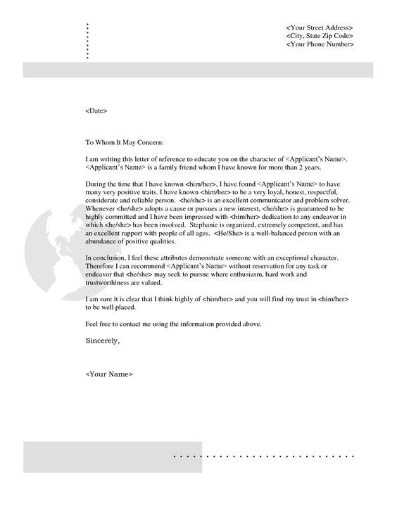 18 best Letters images on Pinterest Character reference - personal reference letter sample