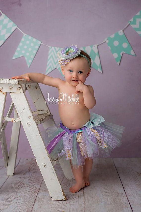 Seashore Mermaid tutu set, lavender mint gold tutu, lavender mint cake smash outfit, first birthday outfit, lavender tutu, photo prop outfit
