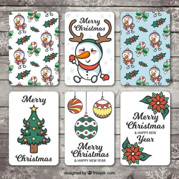 Разнообразие карт рисованной Рождество и счастливый новый год Вектор Бесплатно