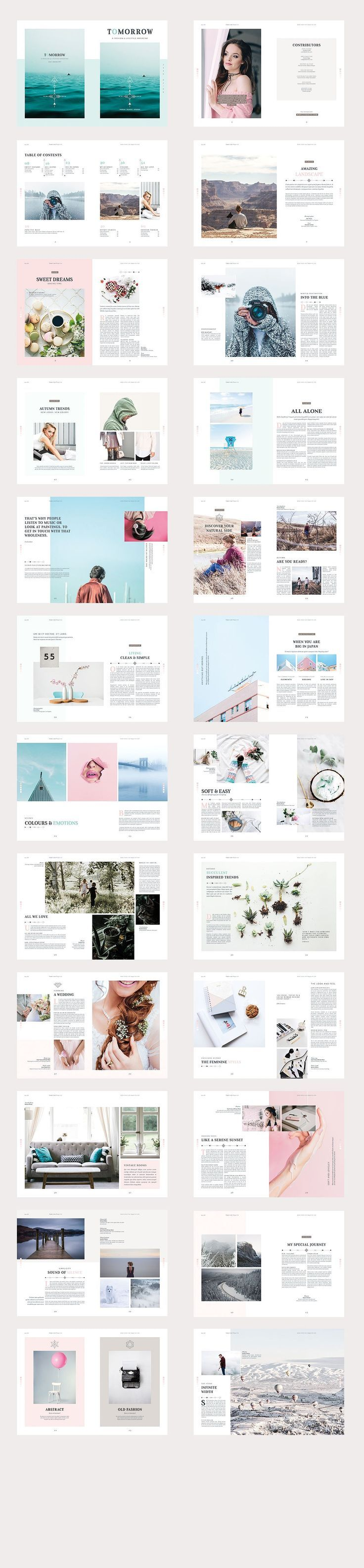 Tomorrow Magazine by Imagearea on @creativemarket Printing brochure template with one of the best creative design and great cover, perfect for modern corporate appearance for business companies. This layout is modern, simple and feminine; have a good inspiration or grab some ideas.