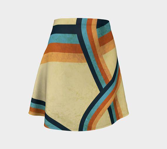 Women's flare skirt, Abstract Geometric design, Colorful, Grungy, Cute, Women's summer skirt, Cute summer skirt, Gold Skirt