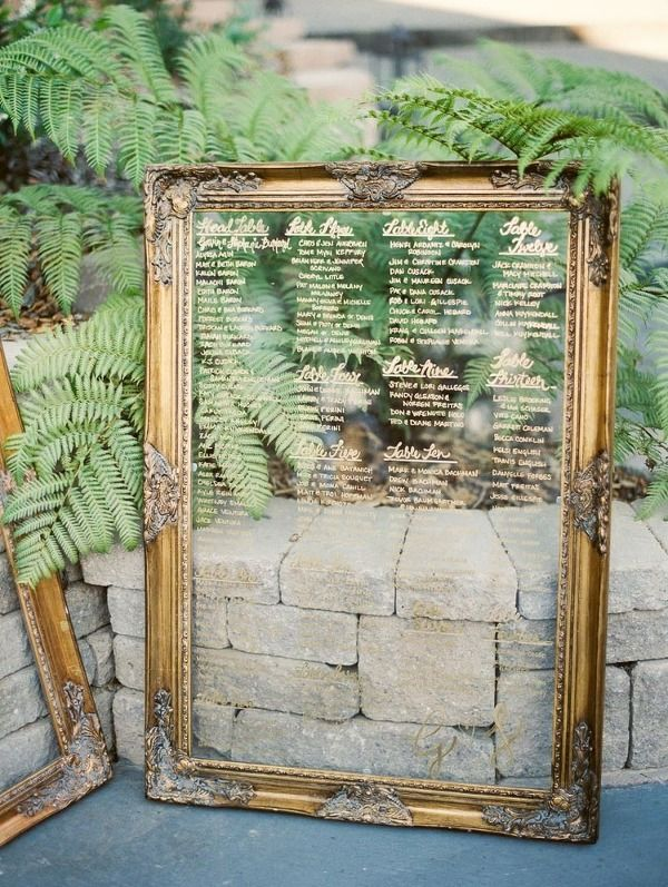 Vintage Gold Picture Frame for a Seating Chart | Danielle Poff Photography | Effortlessly Chic Sparkling Neutral Wedding
