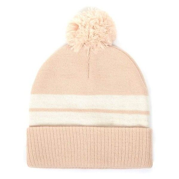 Nude and Cream Stripe Bobble Beanie Hat (1.225 RUB) ❤ liked on Polyvore featuring accessories, hats, bobble beanie, stripe hat, cream hat, striped hat and bobble hat