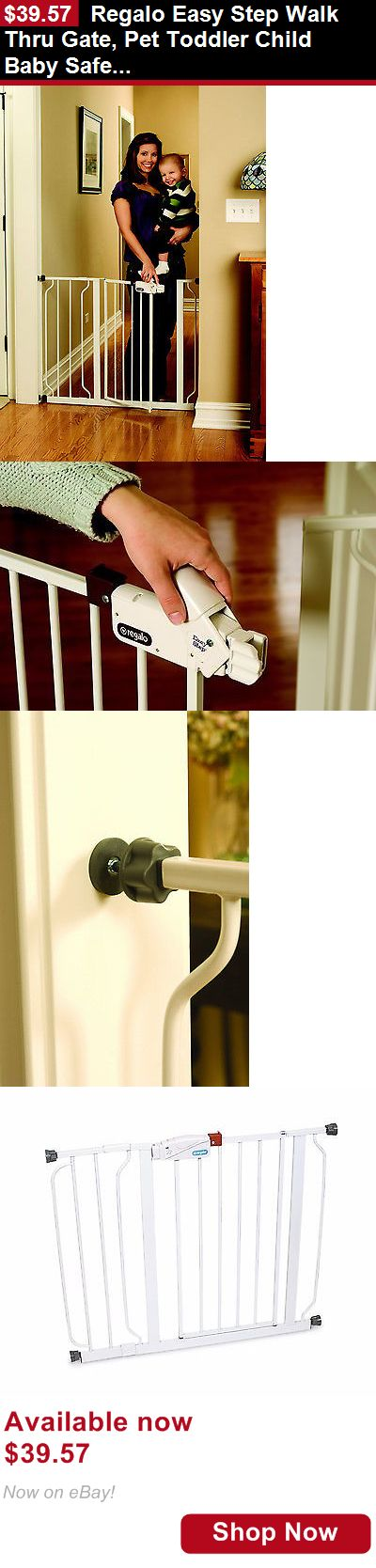 Baby Safety Gates: Regalo Easy Step Walk Thru Gate, Pet Toddler Child Baby Safety White BUY IT NOW ONLY: $39.57