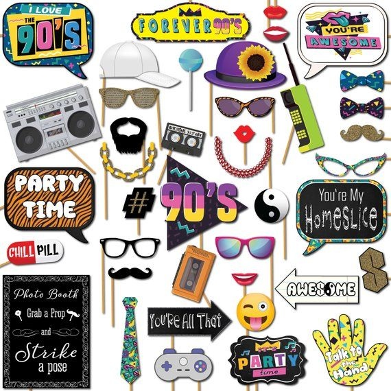 1990s Throwback Party Theme Photo Booth Props Decorations 41 Pieces