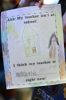 First Grade Blue Skies: My Teacher is Missing!!! Freebie Cute activity to put in a sub folder.