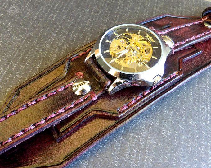 Reloj brazalete de cuero, reloj Steampunk, reloj de cuero de los hombres, reloj de pulsera de cuero, brazalete de cuero, reloj de pulsera, reloj de caoba