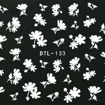 モノトーンフラワーネイルシール[DTL-133]ブラック/ホワイトネイルネイルアートジェルネイルシールネイルツールフラワー
