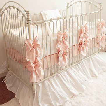 baby girl crib bedding-Gorgeous, right? Yeah it's over $500.--i like the idea of doing a skirt and then adding bows though!