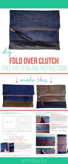 Free fold over clutch instructions and pattern layout | isntthatsew.org/fold-over-clutch/