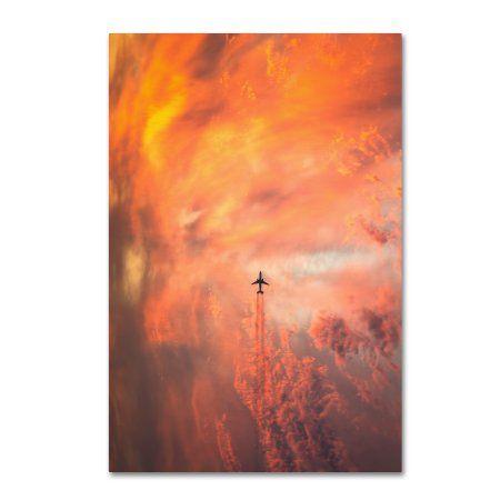Trademark Fine Art 'Airplane' Canvas Art by Christian Lindsten, Orange