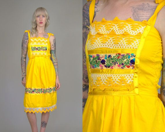 Vintage Mexican Embroidered Flowers Yellow Cotton Oaxacan Babydoll Festival Dress  This dress is in AS-IS condition. Some of the crochet