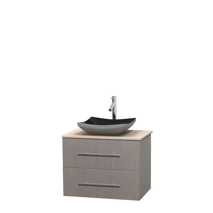 Wyndham Collection Centra 30-inch Single Bathroom Vanity in Grey Oak, No Mirror (Black Granite, Ivory Marble or White Carrera) (30 Grey Oak,IvMarble Top,Avalon Car Sink,No Mir), Size Single Vanities
