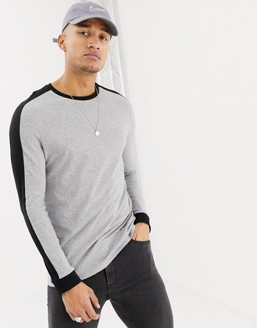 a008967a4e00 DESIGN longline long sleeve t-shirt with contrast shoulder panel in gray  marl in 2019 | Menswear | Long a line, Mens tops, T shirt