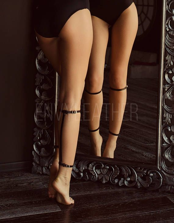 Leather garters Leg harness Stocking straps Leather calf