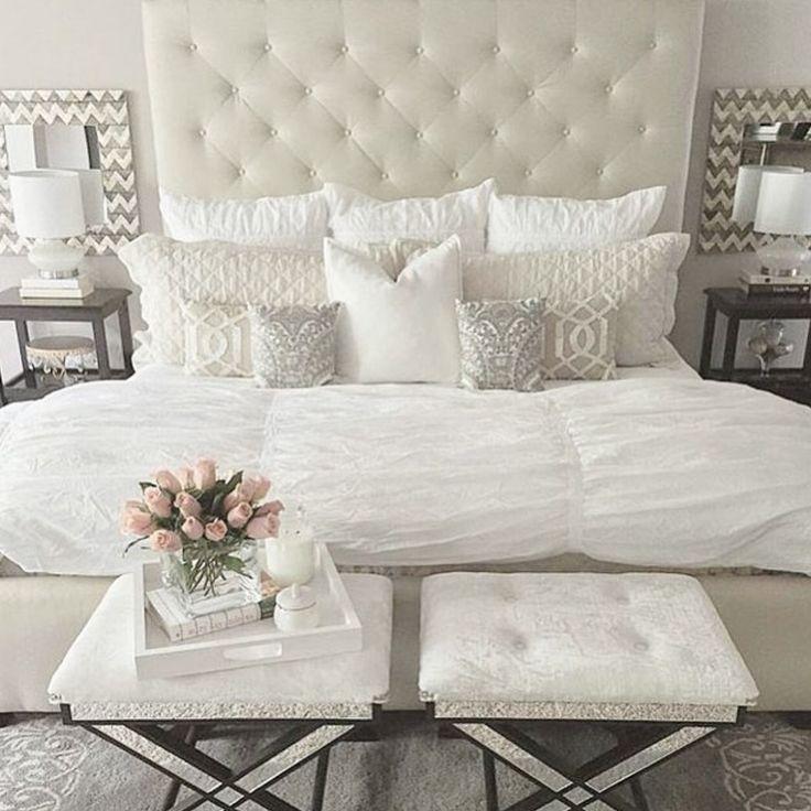 Neutral glamorous bedroom