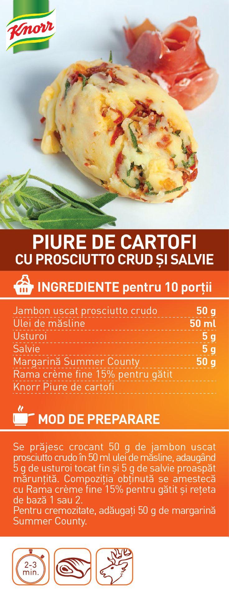 Piure de cartofi cu prosciutto crud si salvie - RETETA